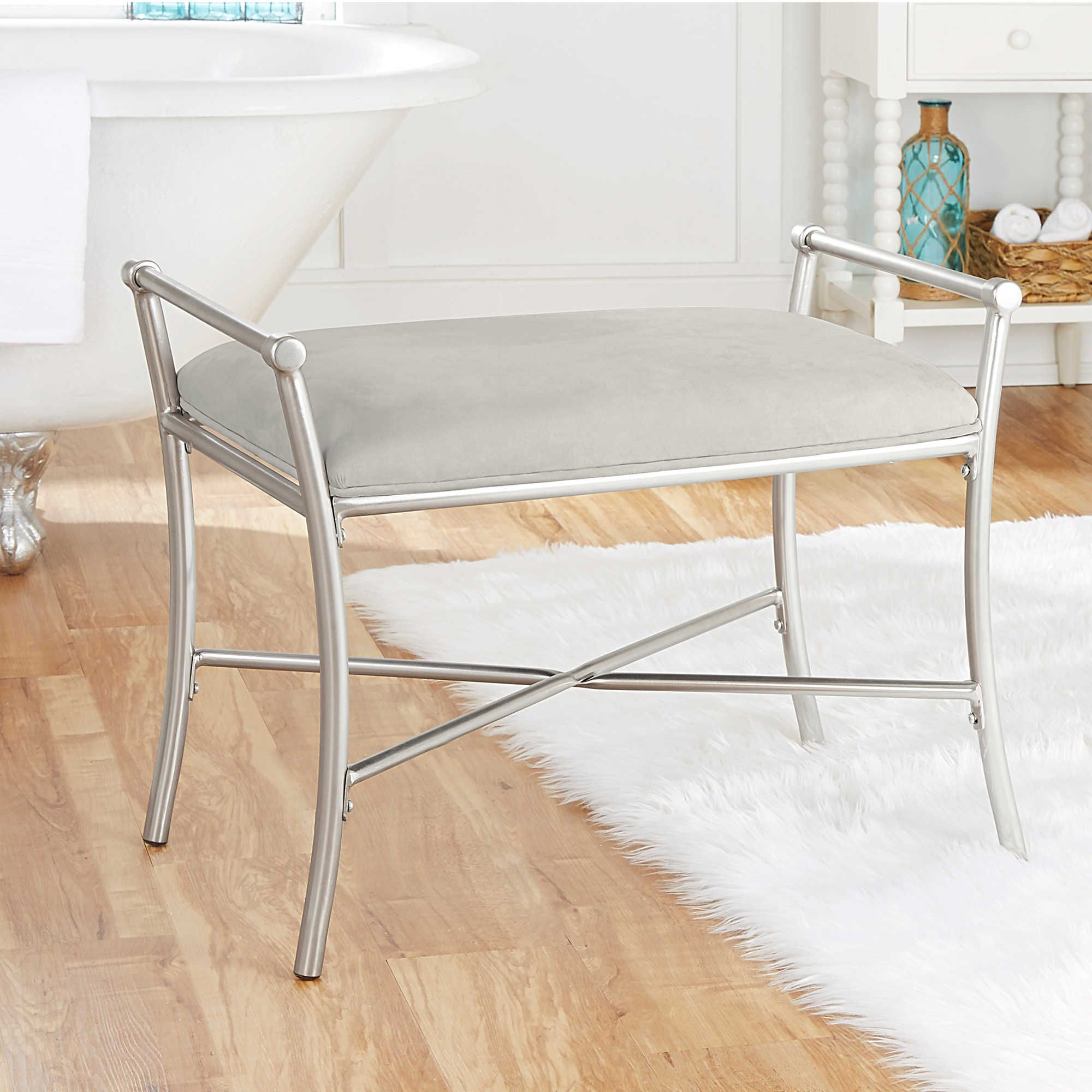 Harlow Vanity Bench In Brushed Nickel Bathroom Vanity Stool
