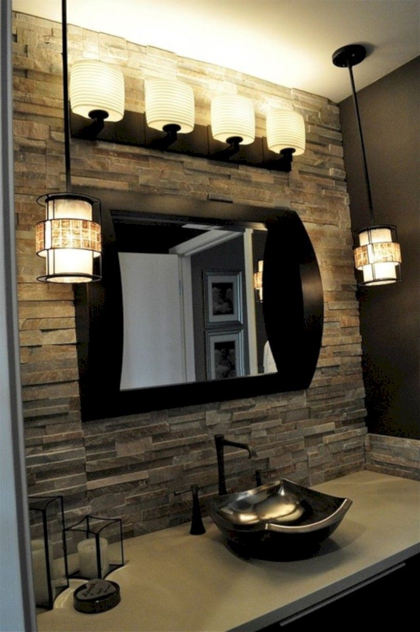 32 Gorgeous Bathroom With Stone Wall Ideas