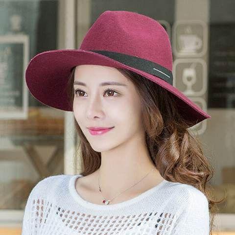 Fashion wide brim fedora hat for winter ladies felt trilby hats