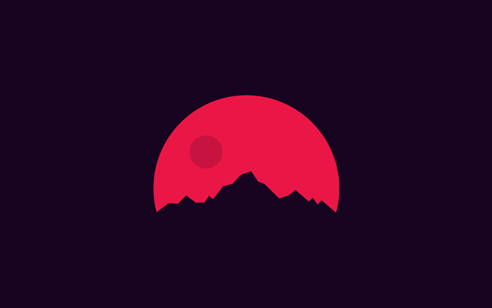 Cute Minimalist Wallpaper Download Wallpapers Mountains 4k Silhouette Red Sun