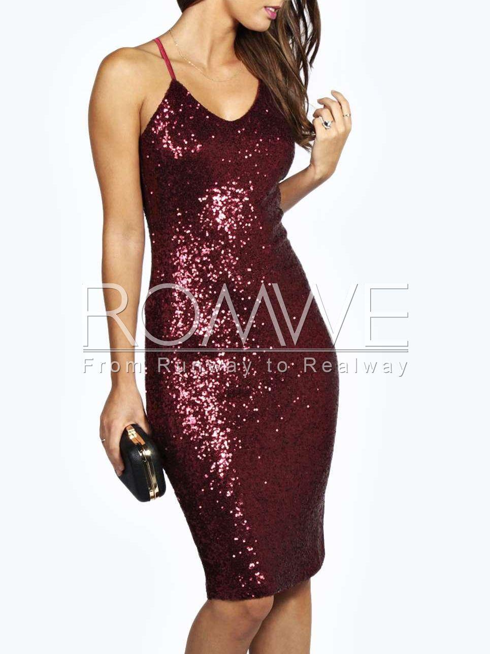 c04afe90fd0 Burgundy Spaghetti Strap Sequined Dress 15.99
