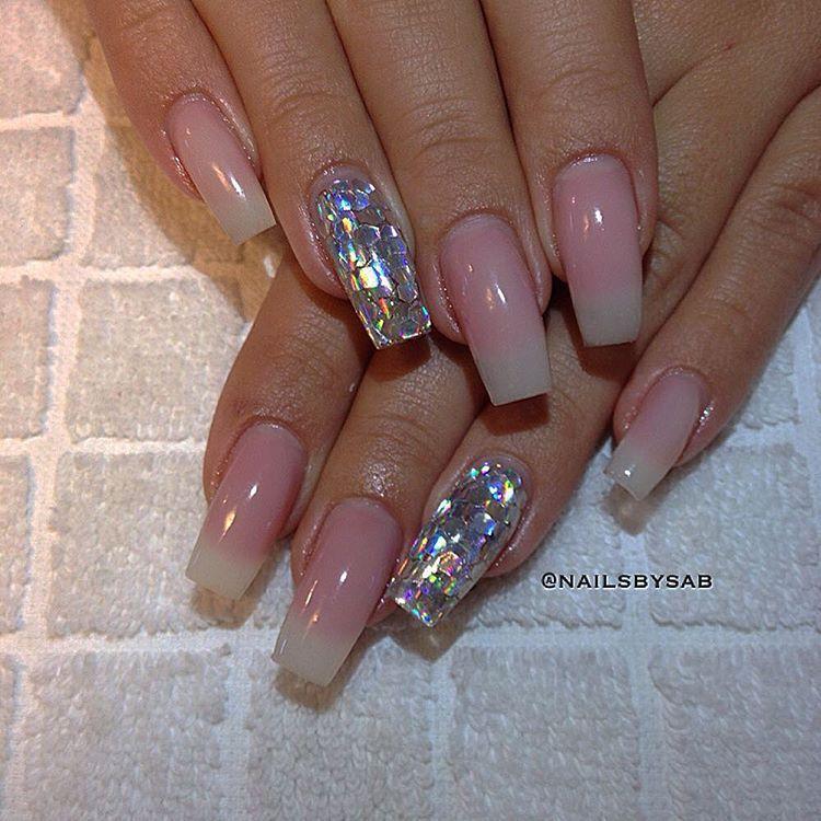 Holo glitter / Mylar glitter flake + Soft Franch Long square tip ...