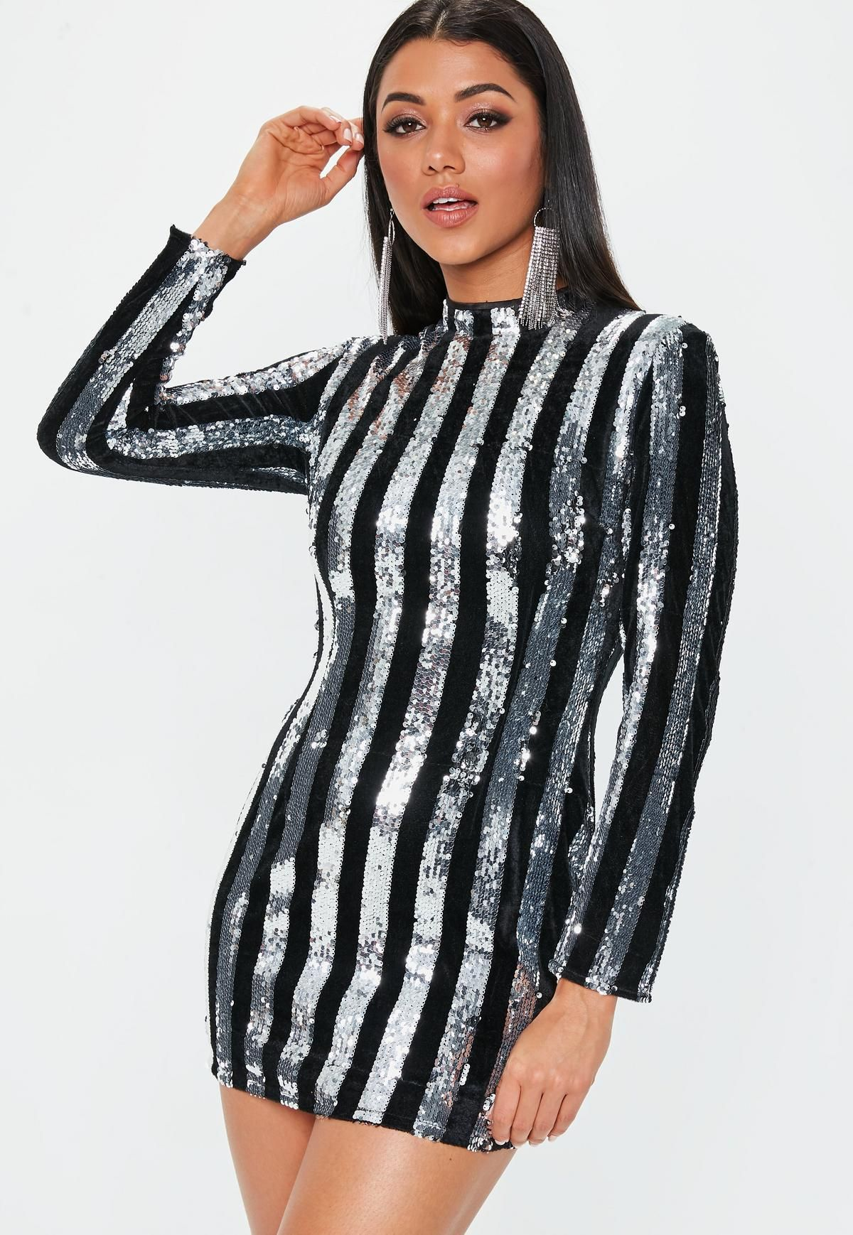 44a1a001038b Missguided - Black High Neck Sequin Stripe Mini Dress | Quirky ...