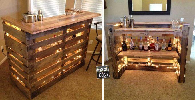 Mini bar en bois de palettes voici 20 id es pour vous - Comment faire un bar avec des palettes ...