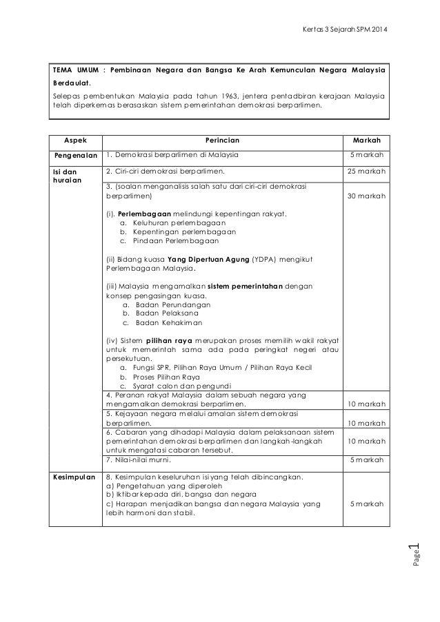 Kertas 3 Sejarah SPM 2014 Page1 TEMA UMUM  Pembinaan Negara dan - copy letter example spm