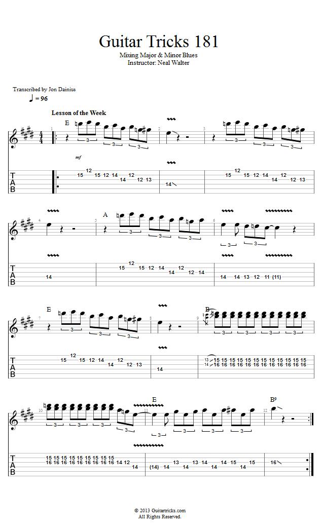 Guitar Tricks 181 Mixing Major Minor Blues Learn Guitar Acoustic Guitar Lessons Guitar Tabs Songs
