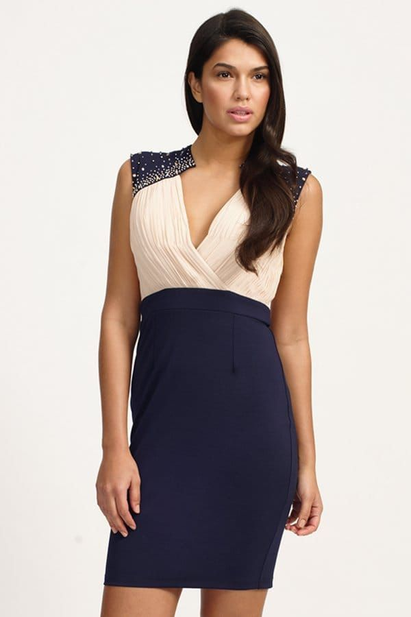 Little Mistress Cream & Navy Embellished Crossover Bodycon Dress s
