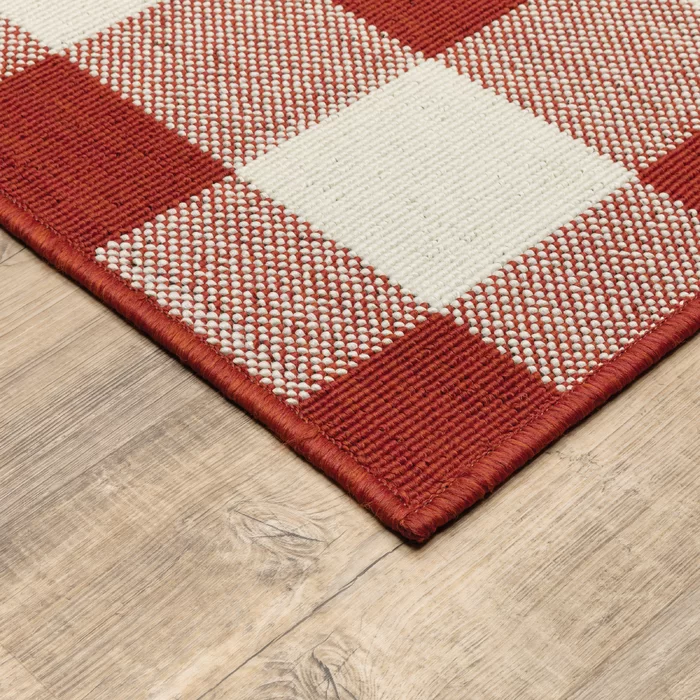 Leighty Plaid Hooked Red Ivory Indoor Outdoor Area Rug In 2020 Red Patio Furniture Indoor Outdoor Area Rugs Rugs