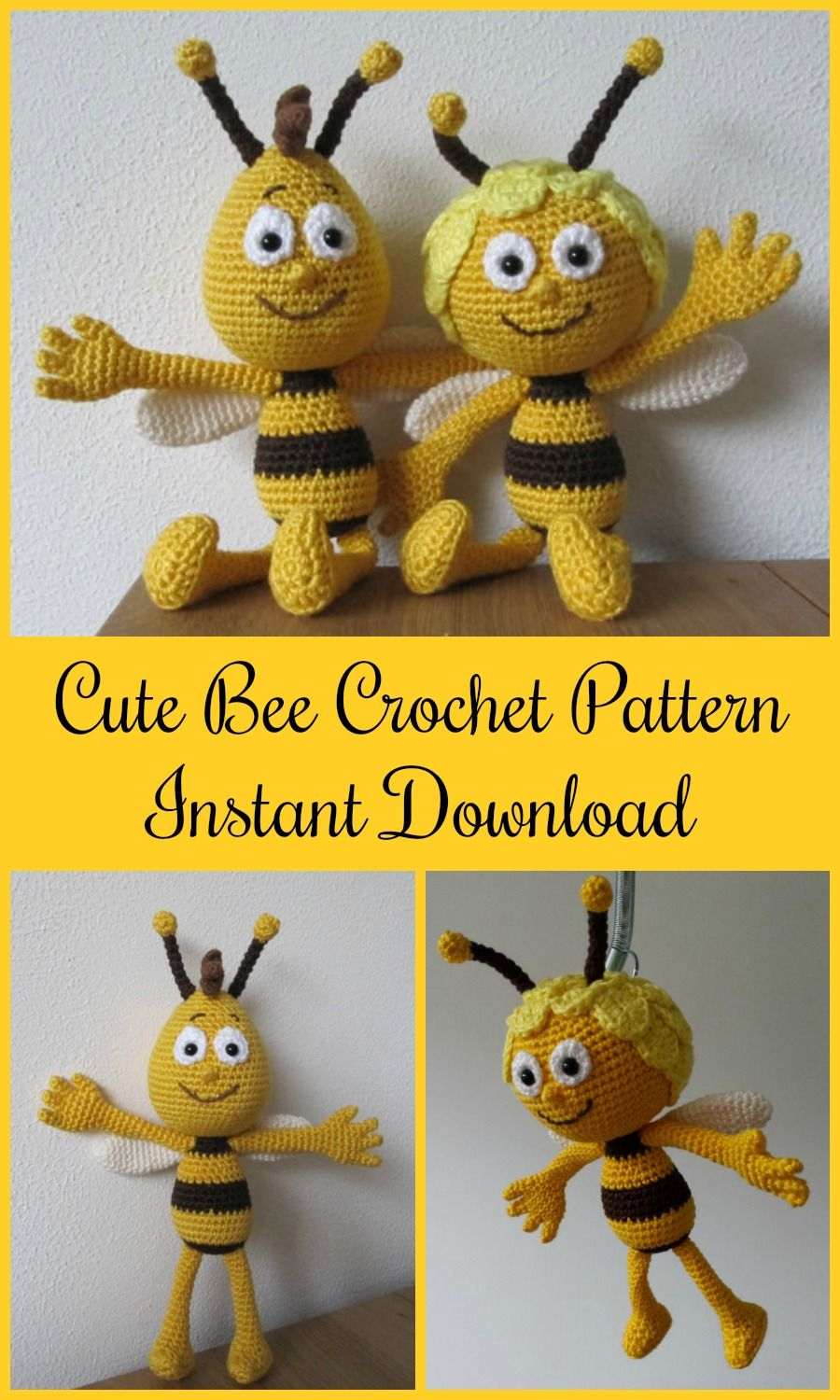bba66f93a74 Cute little bee Maya and her friend Willy from the anime series Maya the  Bee crochet