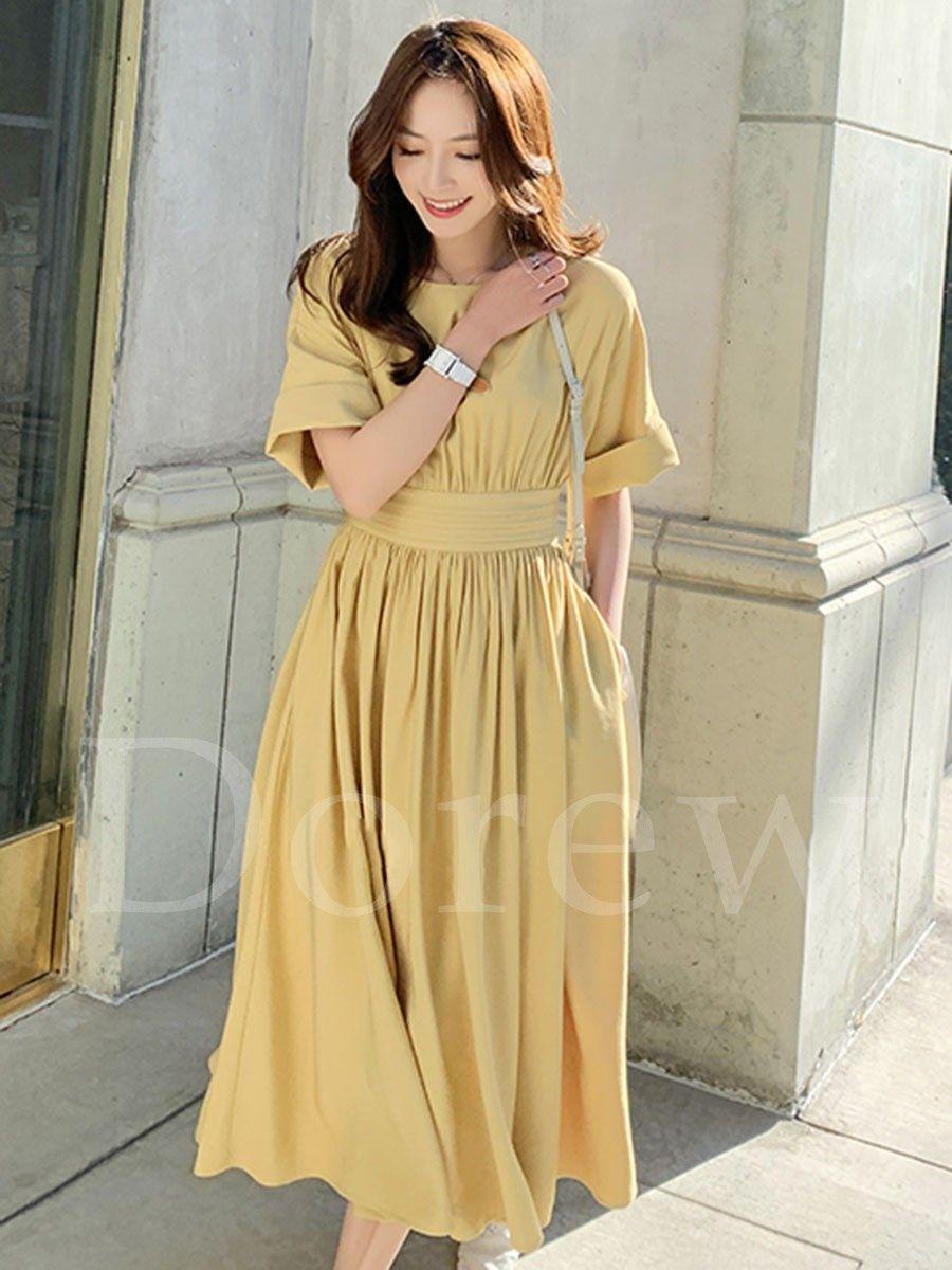 576c6d429f1 ファッション通販 #Fashion IMINOARU Dorew気質淑女レトロシンプル無地ワンピース大振り子レディース