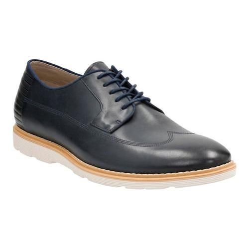 Dark Blue Clarks Mens Leather Gambeson Oxfords