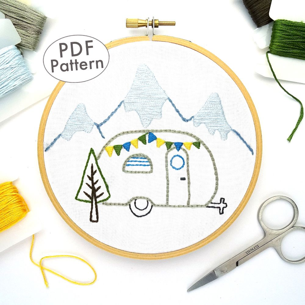 Vintage Trailer Winter Mountains Hand Embroidery Pattern #embroiderypatternsbeginner