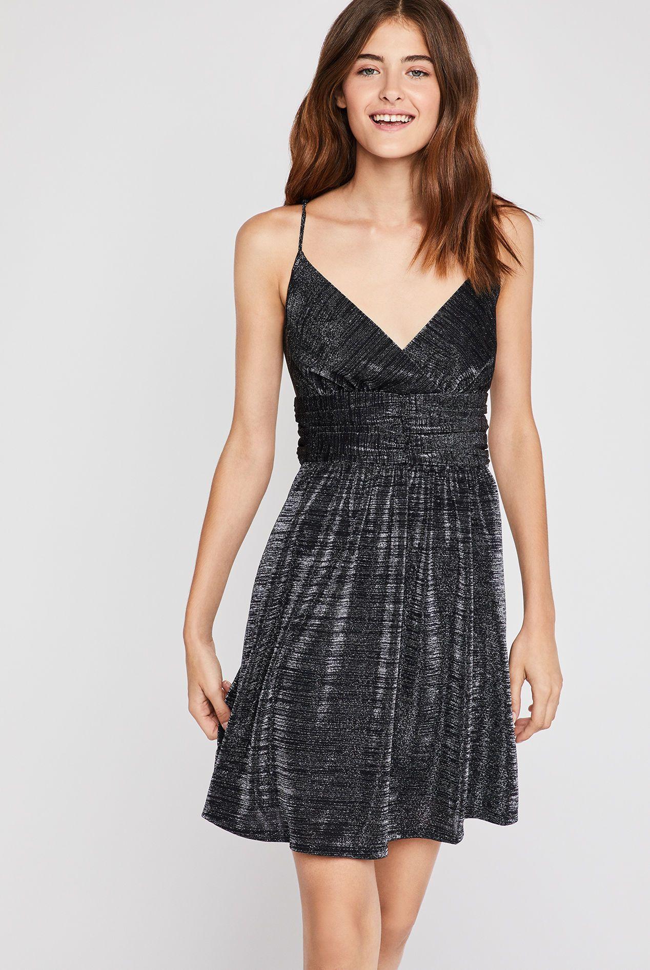 d0b206adc95 Metallic Shirred Surplice Dress - Metallic Black