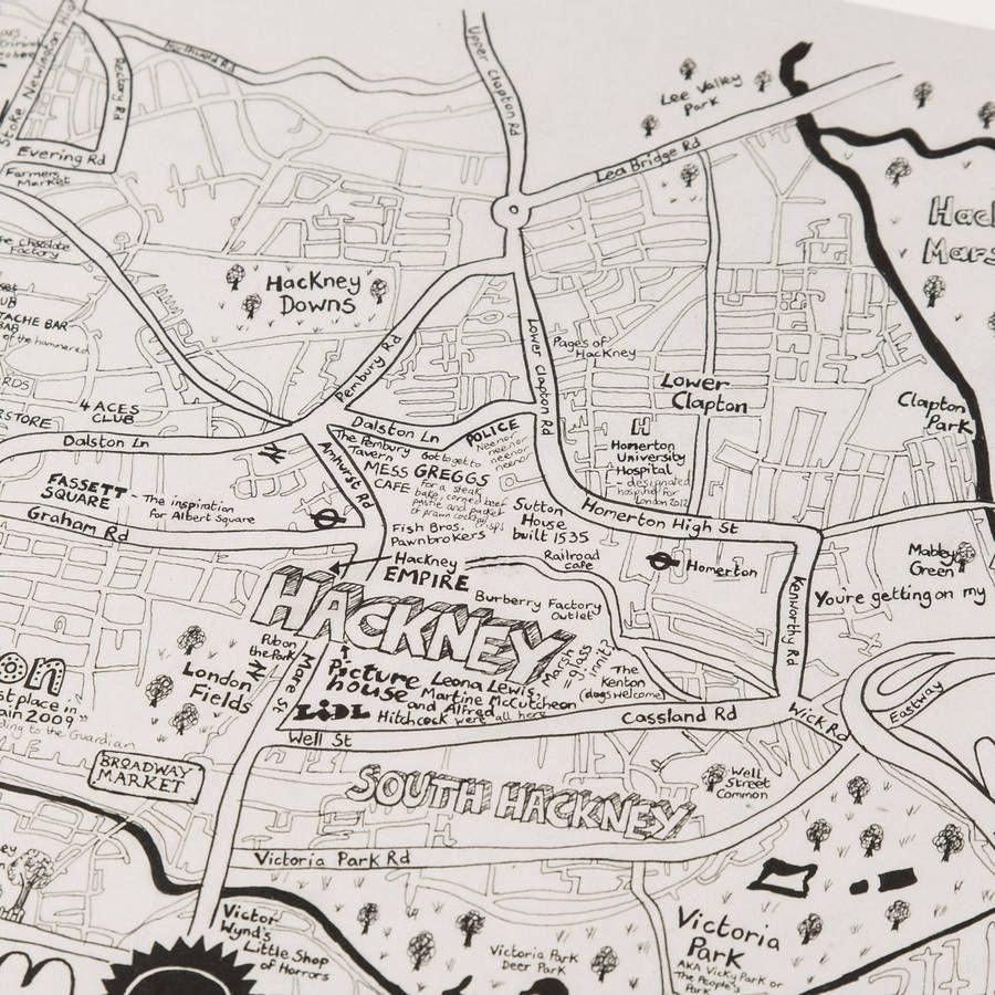 We Love You London Hand Drawn Map Print House Art Pinterest