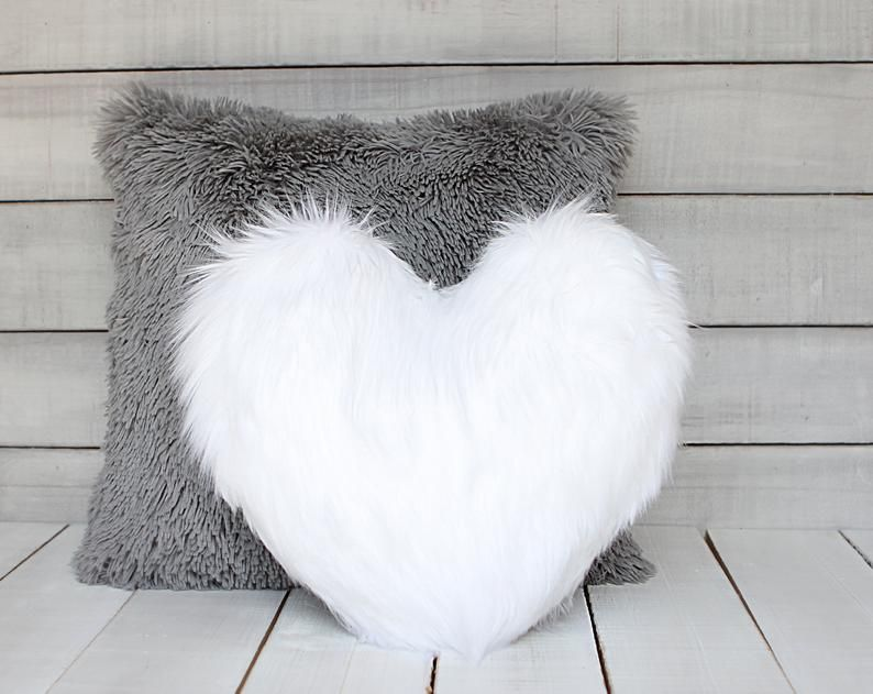 white fur heart shaped pillow fur