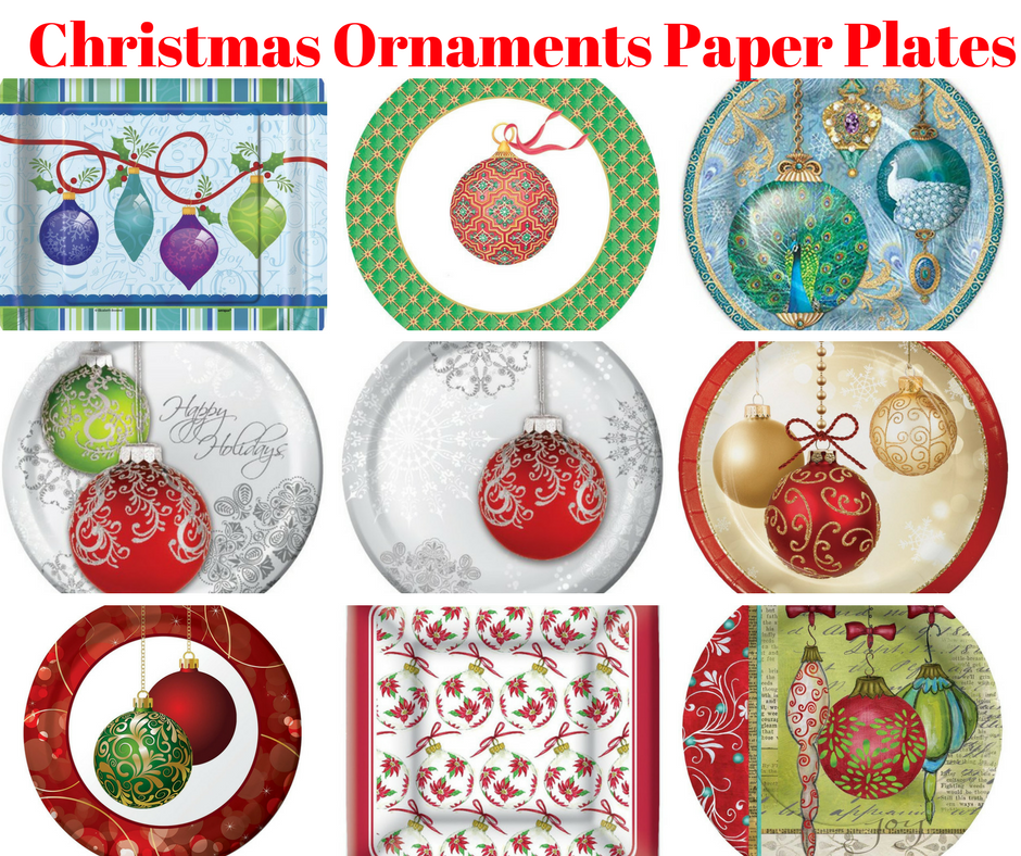 Gibson 8 Count Decorative Paper Lunch/Dessert Plates Easy Clean Up Measures - Joy of Christmas Decorated plates add cheer to your holiday table I  sc 1 st  Pinterest & Christmas Ornaments Paper Plates | Christmas Party | Pinterest ...