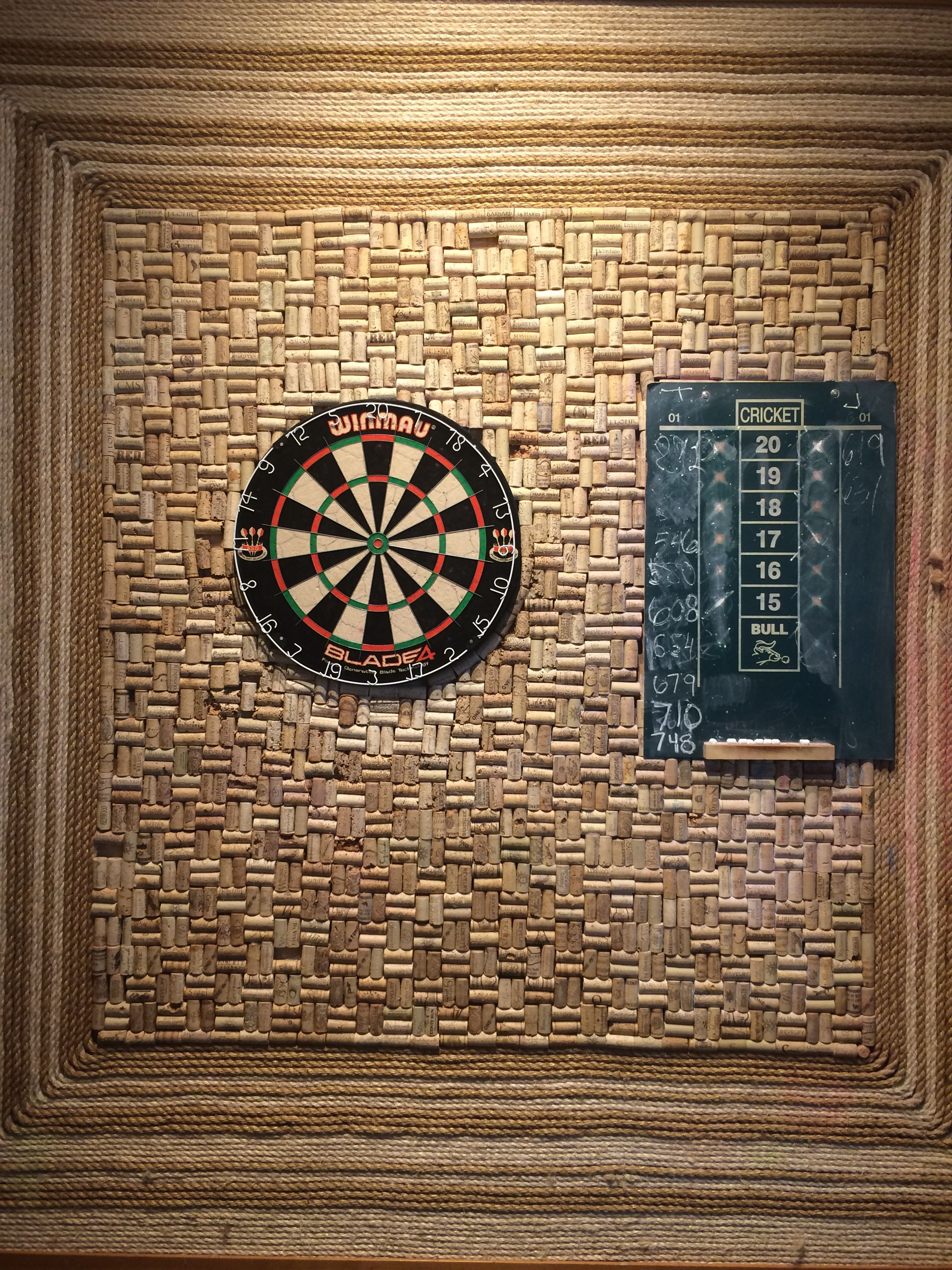 Wine Cork Board Behind Dart Board