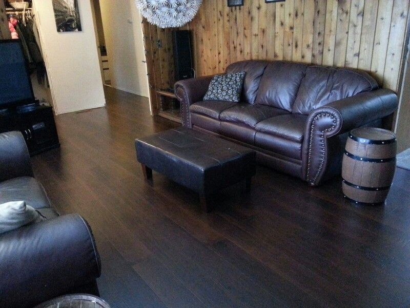 Dark Wood Floors With Notty Pine Walls Home Interior Design In