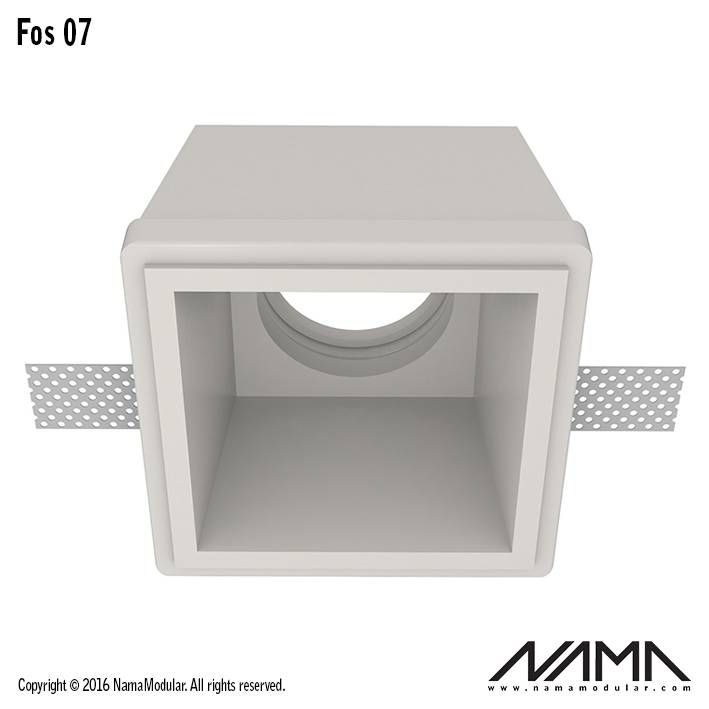 Fos 07 trimless gips inbouwspot verdiept vierkant voor Ø50mm led ...