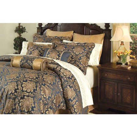 Amazon Com 8 Pc Ardenne Gold Navy Blue Comforter Set W