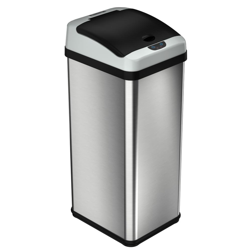 Halo 13 Gal Platinum Rectangular Extra Wide Stainless Steel Automatic Sensor Trash Can Silver Metallic Brushed Stainless Steel Garbage Can Stainless Steel