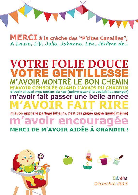Affiche Merci Nounou Ou Crèche Cadeau Maitresse Par