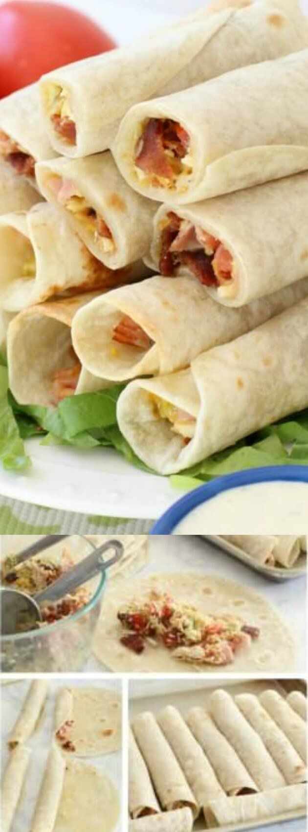 These Chicken Club Roll-Ups from Butter With a Side of Bread are easy to make and stuffed full of  delicious flavor! They are amazing dipped in a slightly spicy Sriracha Ranch, too (or regular ranch if your kids are eating them!).