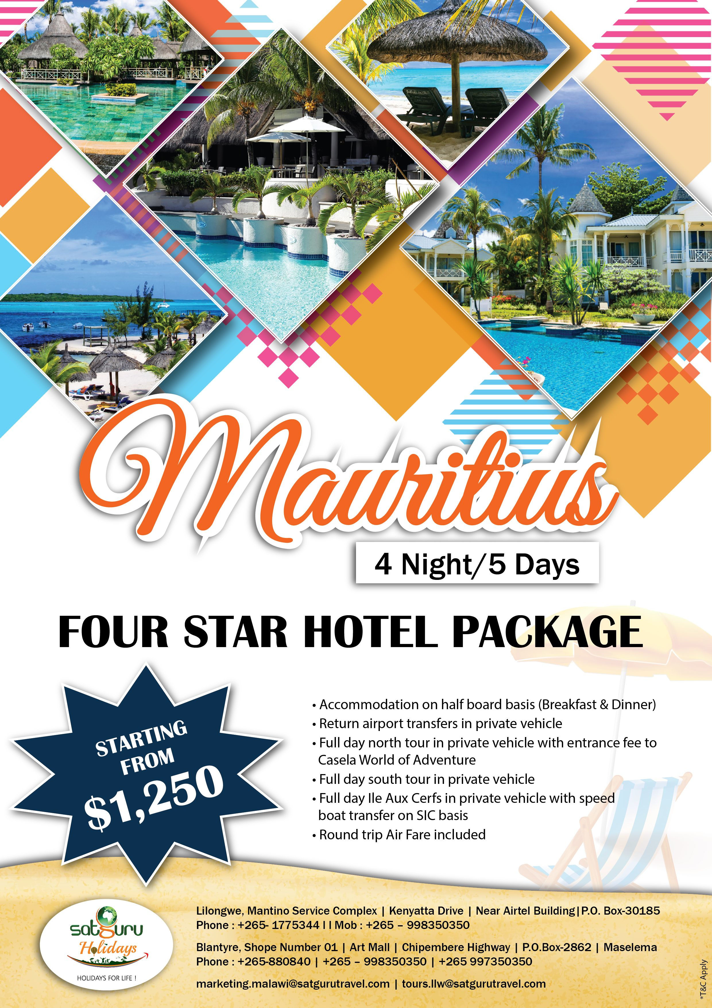 4 star hotel package starting at 1250 usd contact us
