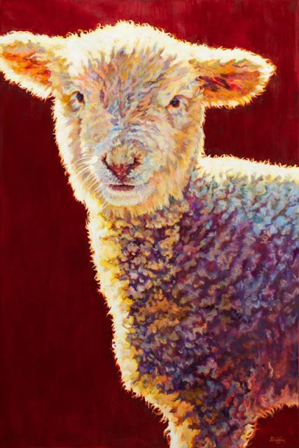 Wildlife Art International Colorful Contemporary Lamb Art Sheep