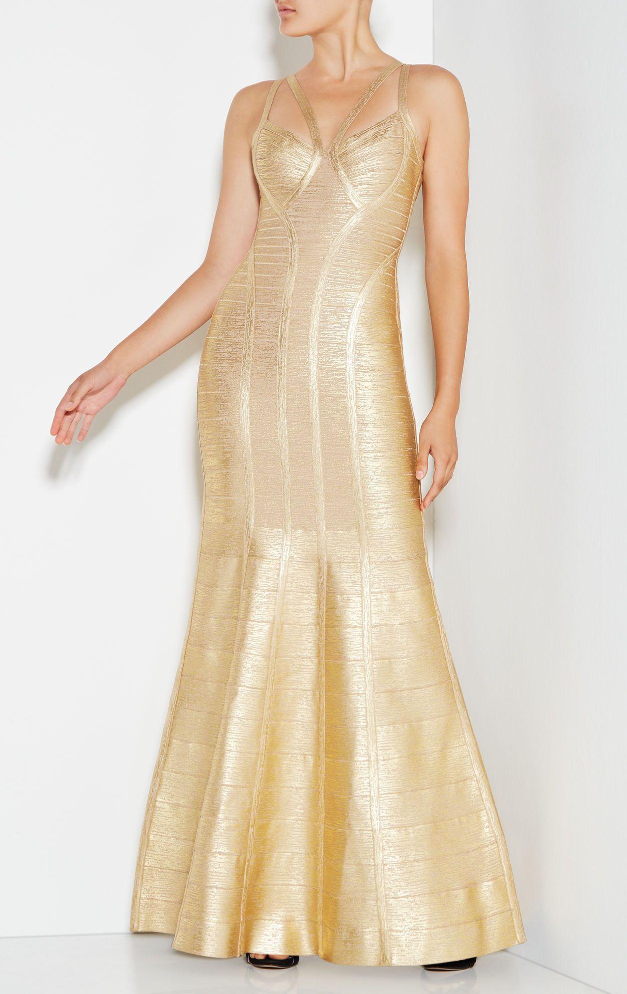 Gold Herve Leger Long Gold Bandage Dresses Herve Leger Long