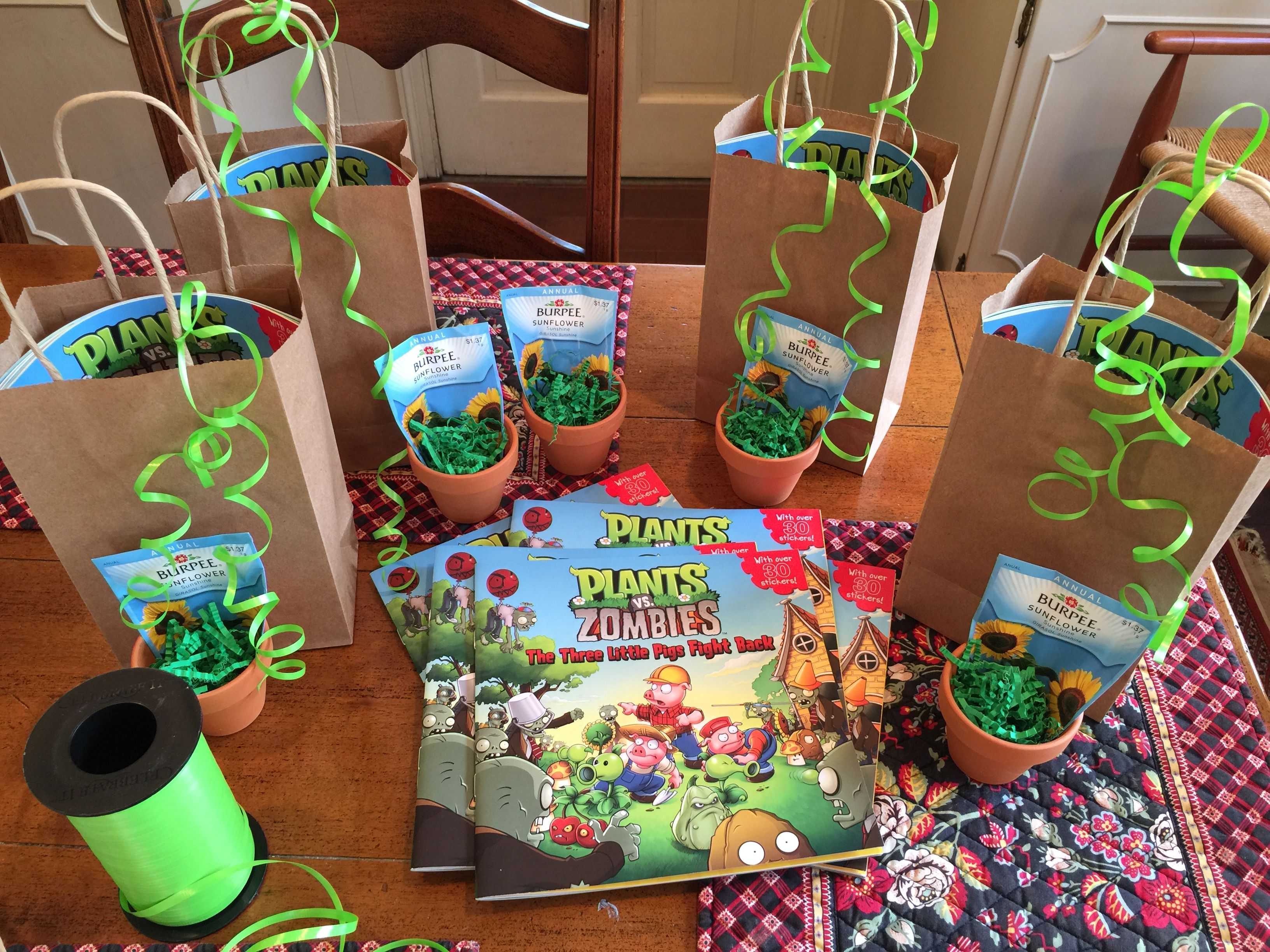 Plants Vs Zombies Party Favors Book Stickers To Decorate Pot Sunflower Seeds Nocandy Zombie Party Plants Vs Zombies Birthday Party Boy Party Favors