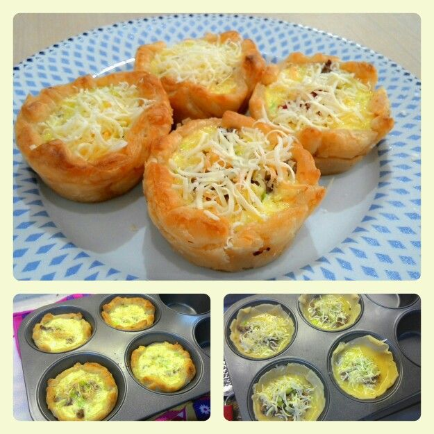 Beef and leek quiche on pastry dough for #breakfast