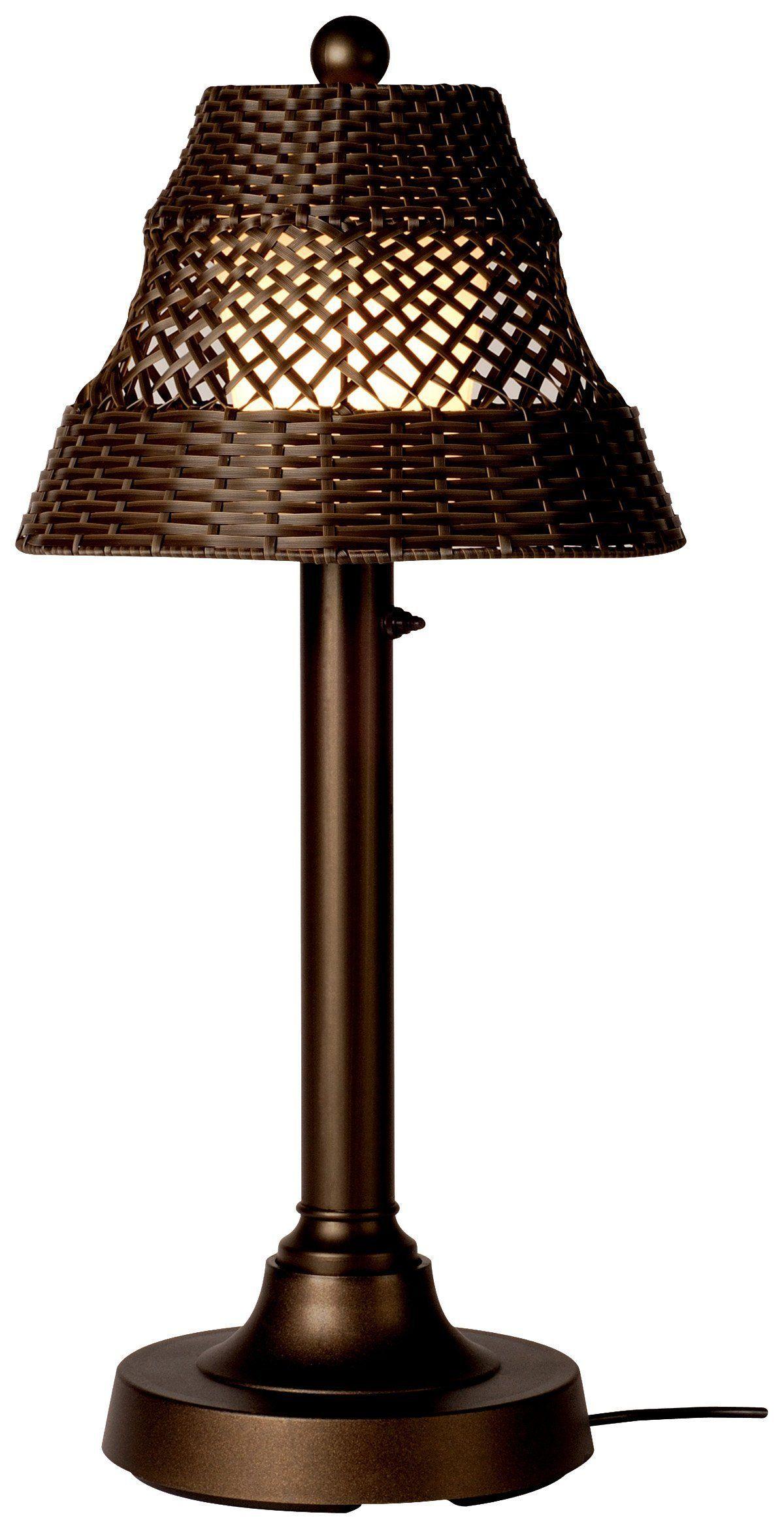 Java 15227 Bronze 30inch Table Lamp With Walnut Wicker