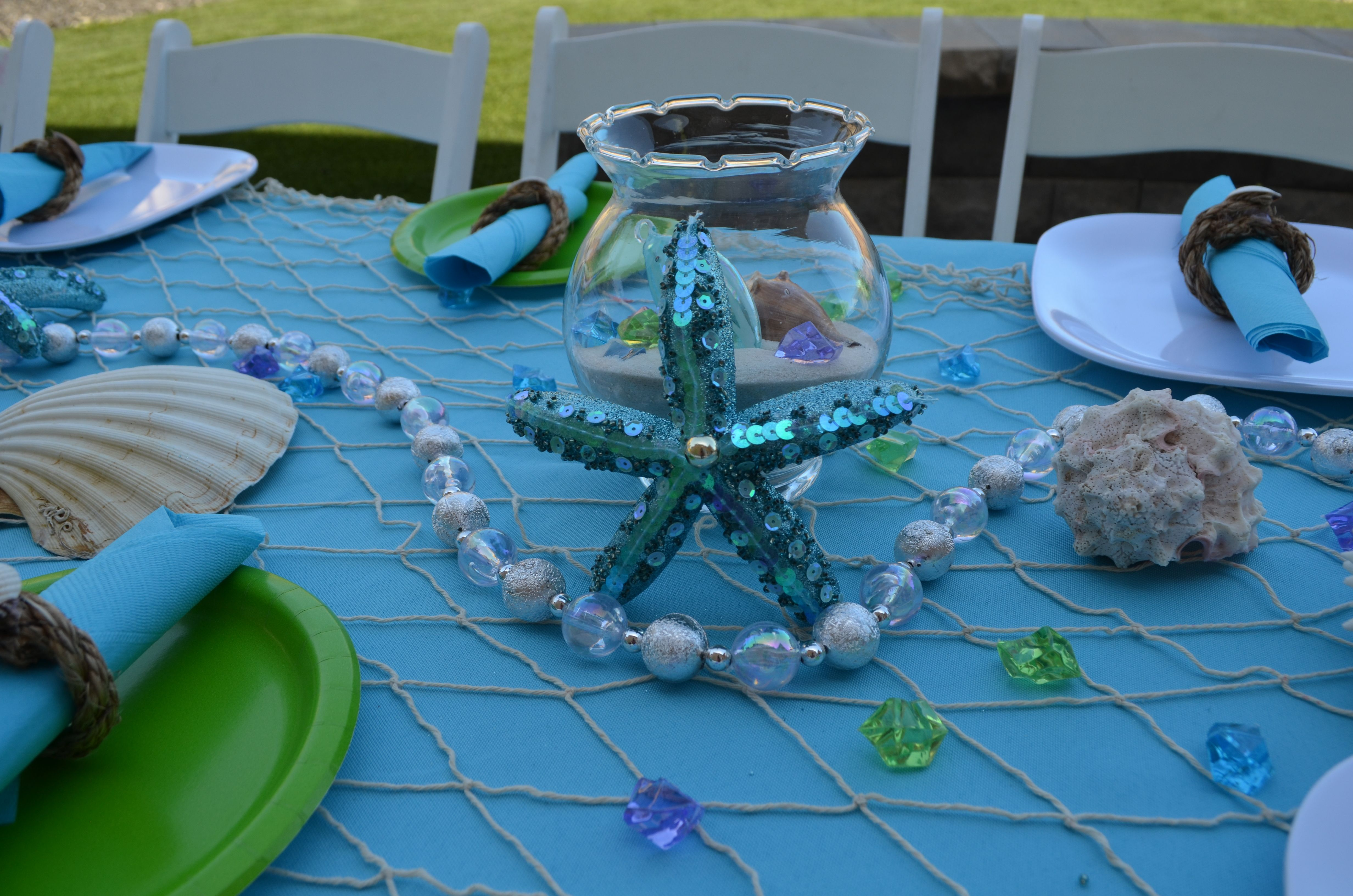 Table Decorations At Our Under The Sea Party Underthesea