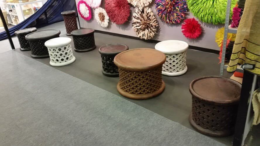 First class african hand carved bamileke stoolscoffee