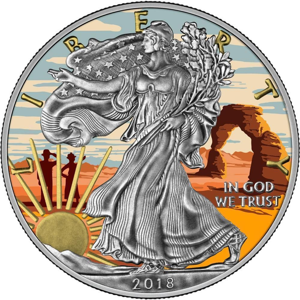 Usa 2018 1 Liberty Silver Eagle Arches Utah 1 Oz Antique Silver Coin Presale Silver Coins Old Coins Hobo Art