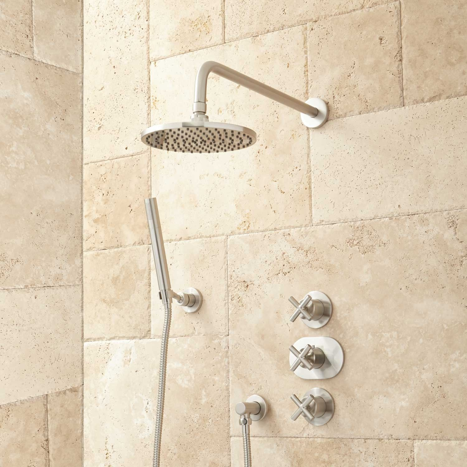 Callas Thermostatic Shower System With Rainfall Shower and Hand ...
