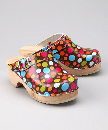 Take a look at this Brown & Blue Dot Clog - Kids by Cape Clogs on #zulily today!