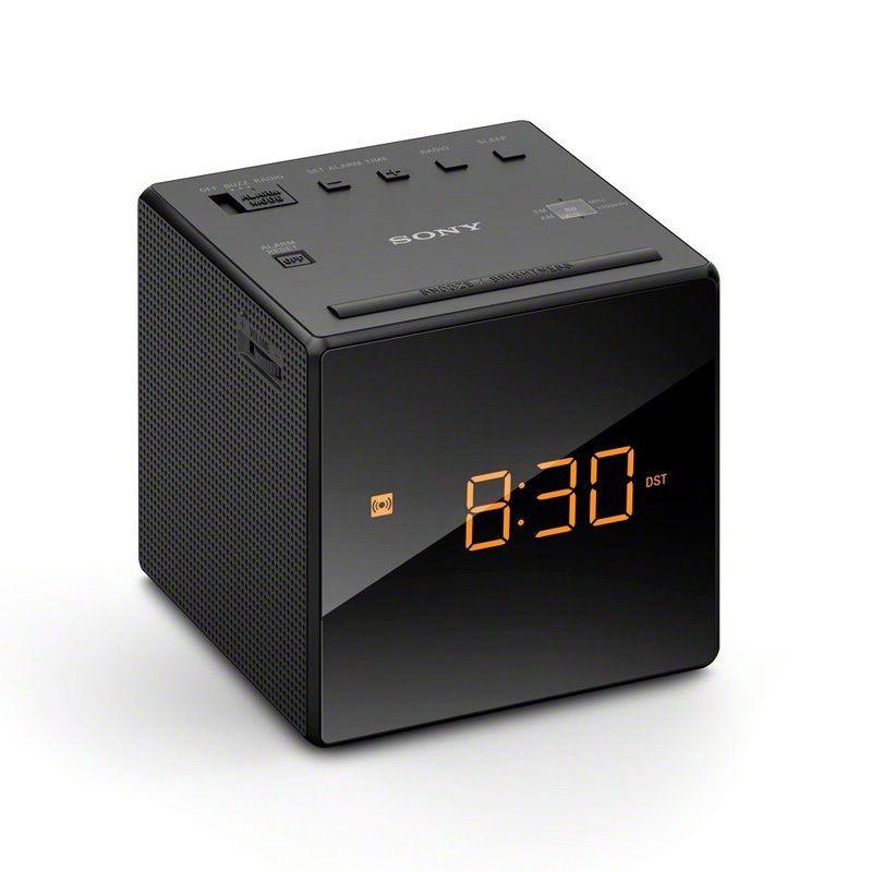 New Sony Fm Am Clock Portable Travel Alarm Clock Radio Black