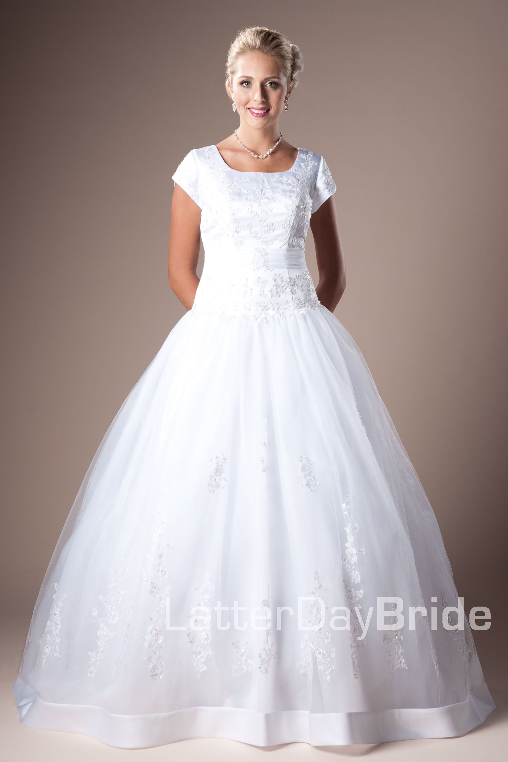 Modest wedding dress new haven latterdaybride prom for Mormon temple wedding dresses