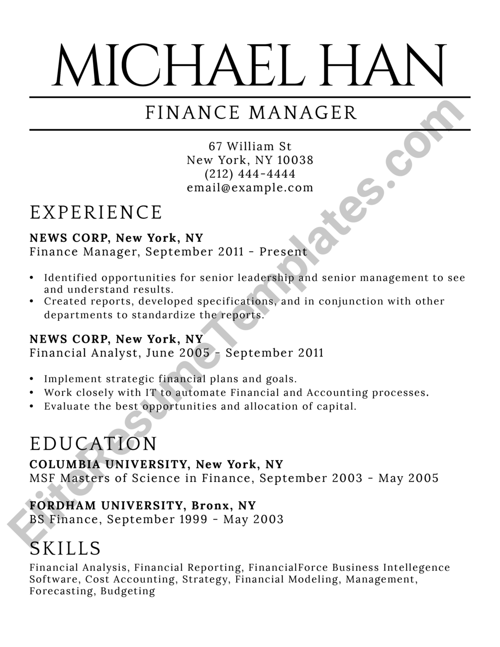 Classic Elite Resume Template Resumes Resume