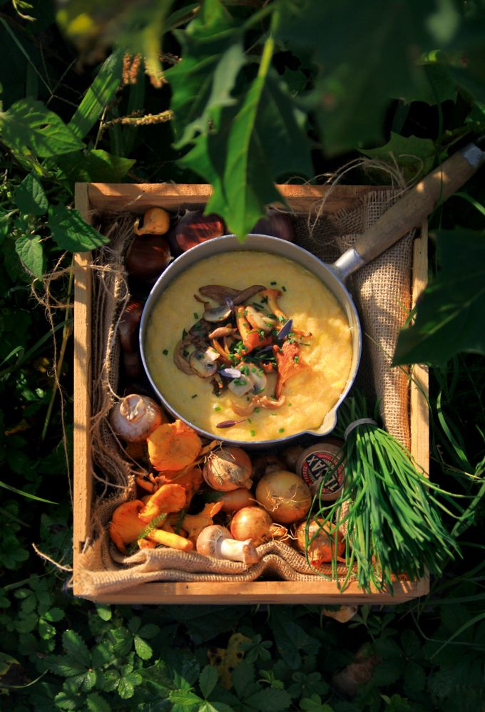 Polenta crémeuse et ses petits champignons d'automne by @fraiseetbasilic pour La Bonne Box