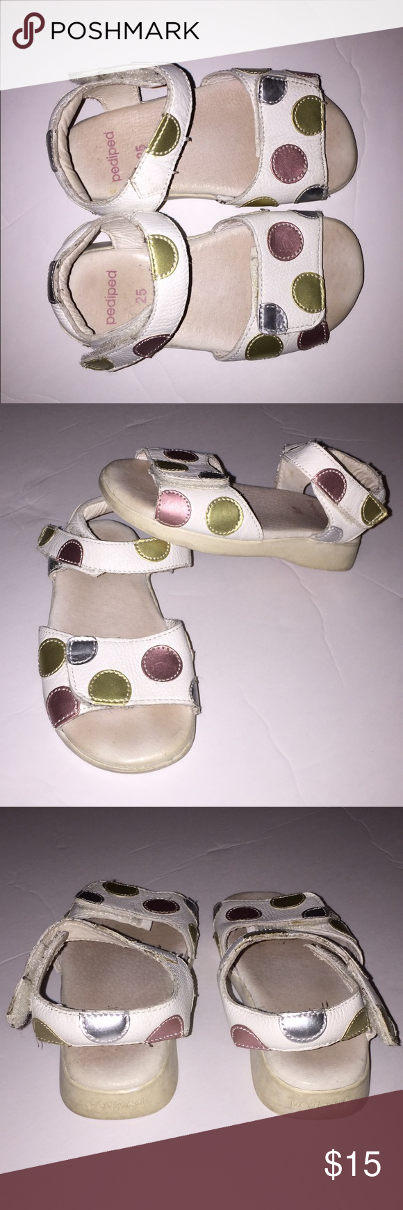Pediped Flex Sandals size 25 size 8.5 Super Cute adorable pediped sandals size 25 Euro which is size 8.5 US. White open toe with a Velcro closure around ankle and toes. Tons of life left. The exterior white with polka dots in great condition. pediped Shoes Sandals & Flip Flops