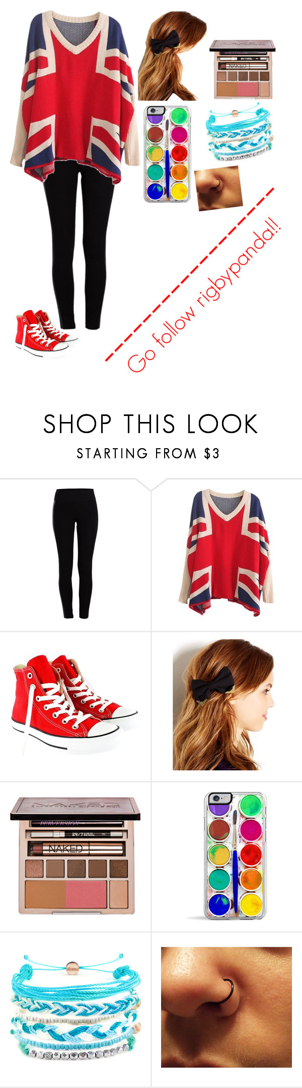 """""""British chick"""" by i-found-wonderland ❤ liked on Polyvore featuring Pieces, Converse, Josette, Urban Decay and Domo Beads"""