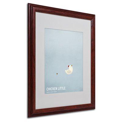 "Trademark Art ""Chicken Little"" by Christian Jackson Framed Graphic Art Size: 20"" H x 16"" W x 0.5"" D, Frame: Brown - Beveled"