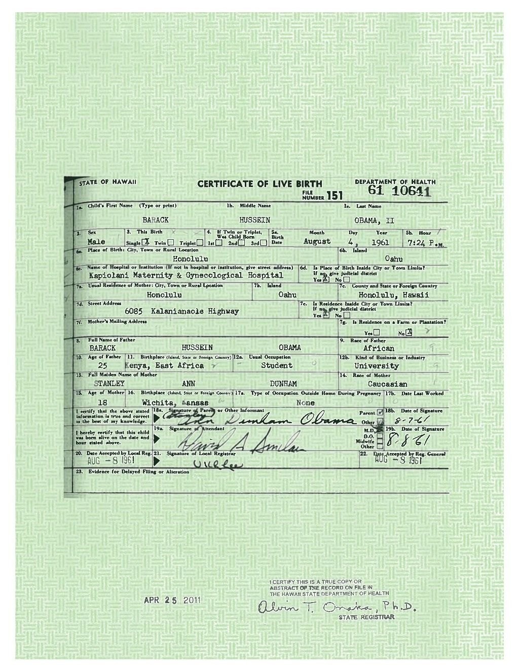 President Obamas Long Form Birth Certificate By White House Via