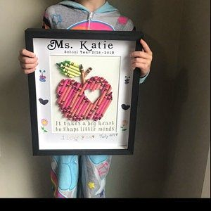 Cut Crayon Heart, Framed wall Art, Custom baby gift, Teacher appreciation gifts, personalized Crayon Hearts #crayonheart