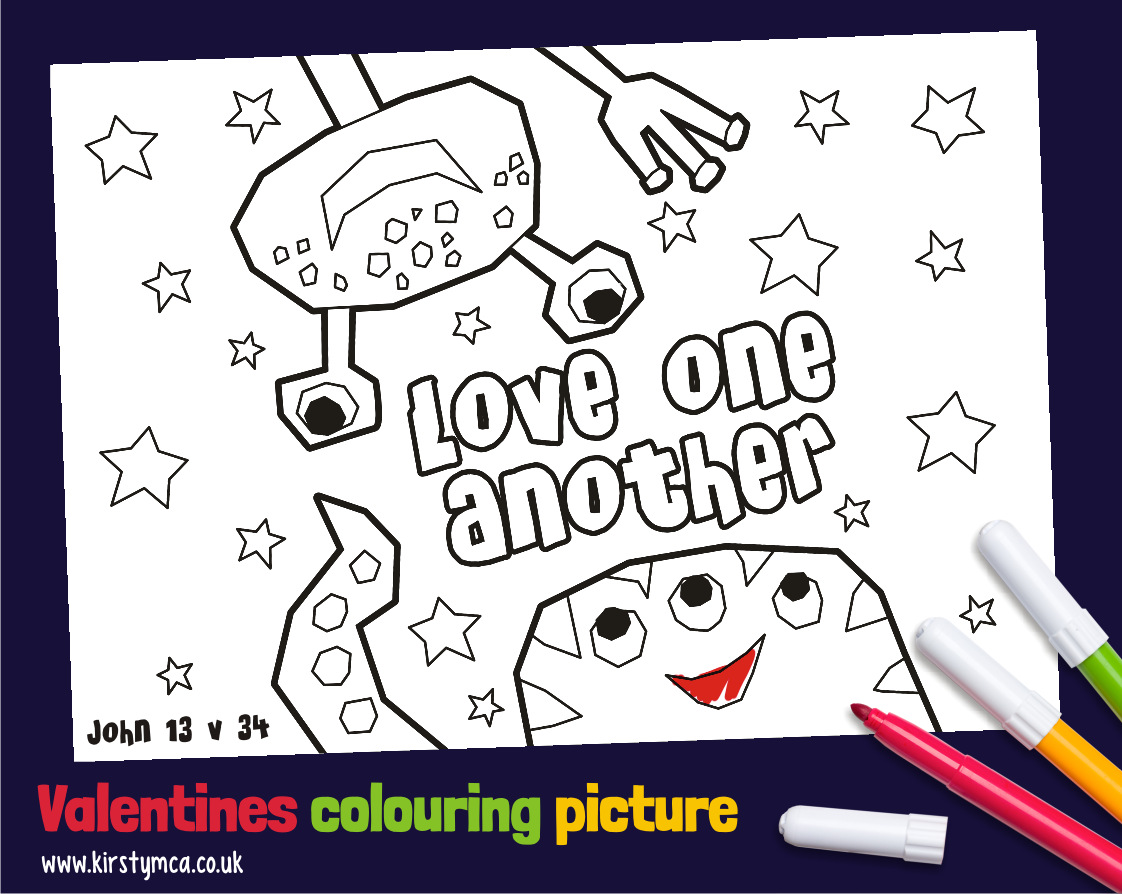 A Bible Valentines day colouring picture. John 13v34 ...