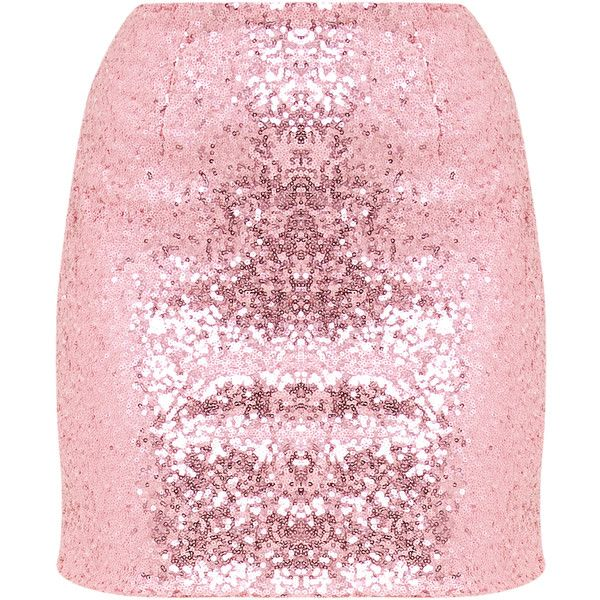 Laniyah Pastel Pink Sequin Mini Skirt ($32) ❤ liked on Polyvore ...