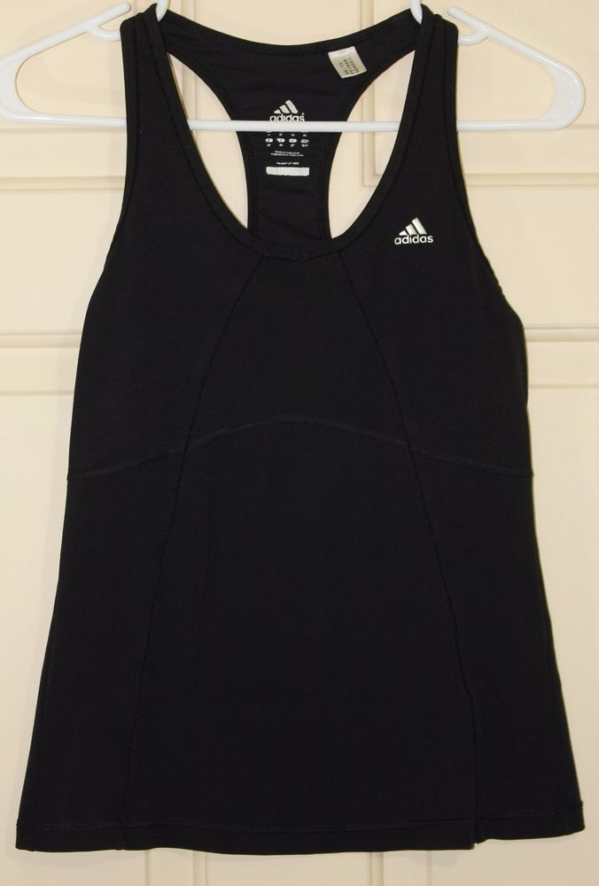 Adidas Climalite Womens Yoga Fitness Running Racerback Tank Top Sz Medium  Black…